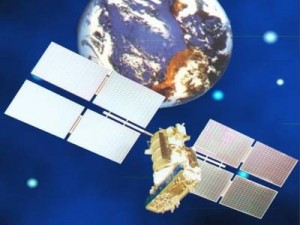 GPS satellite floating in space above planet earth