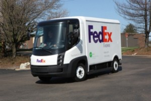 green fleet electric vehicle FedEx